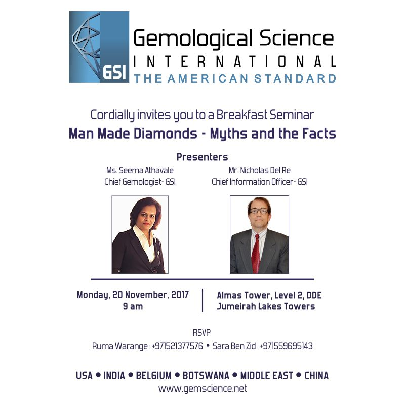 Gemological Science International presents – Managing the Challenge of Man-Made Diamonds at Dubai DMCC 2